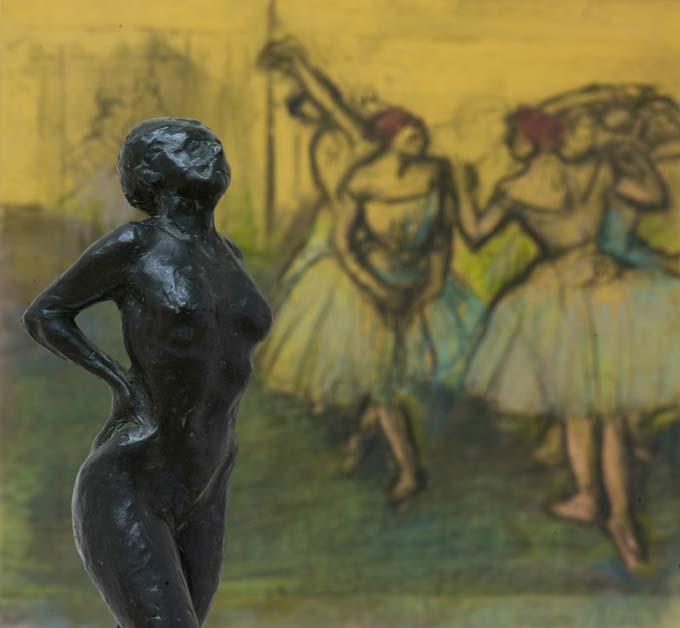Edgar Degas, danseres in rust, rond 1882/1885. Edgar Degas, Danseressen, 1900-1905 (op de achtergrond)  Von der Heydt-Museum Wuppertal